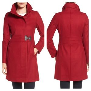 VIA SPIGA red wool blend faux leather buckle coat